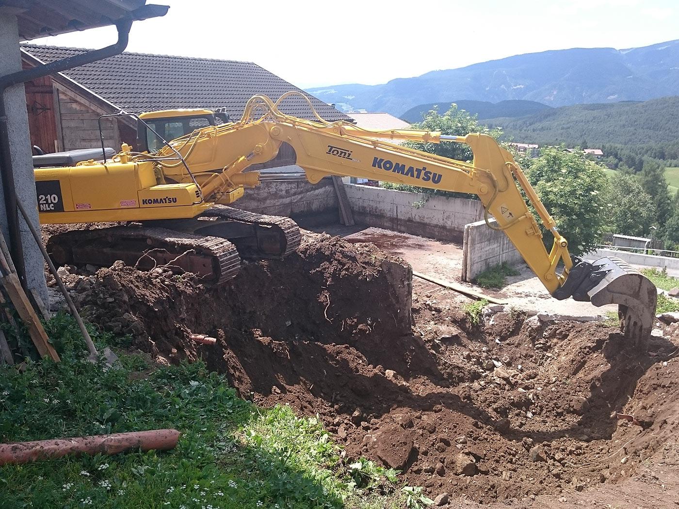 Erdaushub und Bau